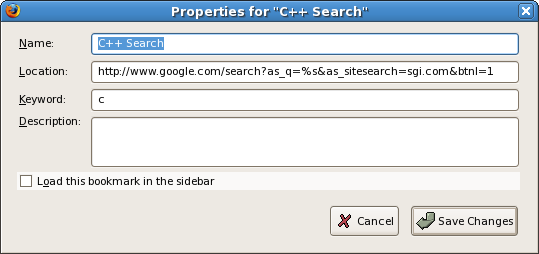 Firefox C++ search keyword bookmark