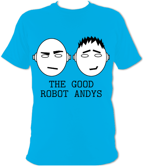 A t-shirt showing the Good Robot Andys logo filling the front.