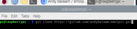 The Terminal showing text: git clone https://gitlab.com/andybalaam/smolpxl.git