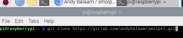The Terminal showing text: git clone https://gitlab.com/andybalaam/smolpxl.git