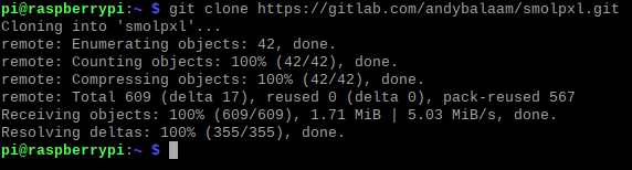 Results of a successful git clone command