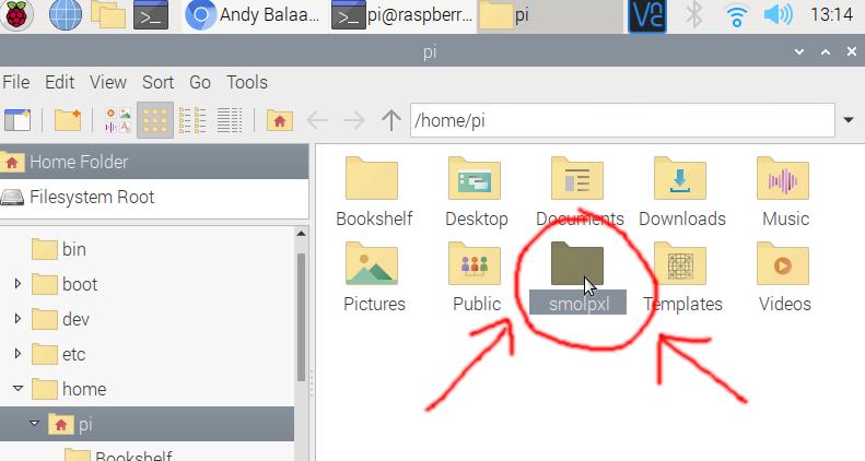 Double-clicking smolpxl folder