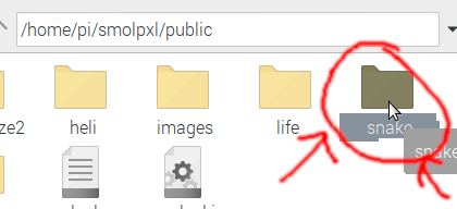 Right-clicking the snake folder