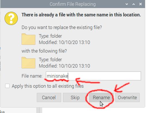 Renaming pasted folder to minisnake