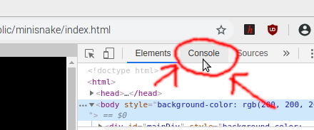 Choosing the Console tab in Developer tools
