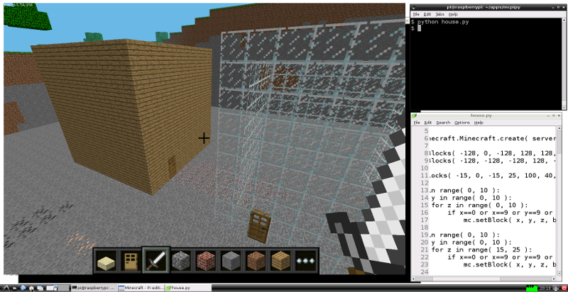 Raspberry Pi Minecraft Python summer project screenshots