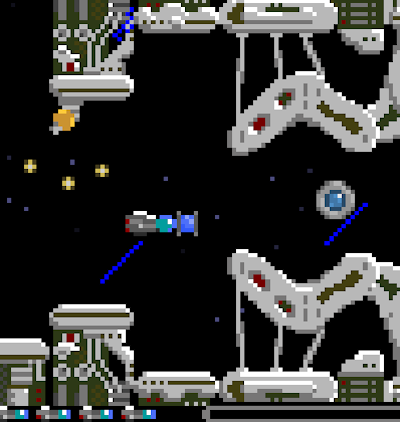 A pixellated spaceship dodges bullets and heads for a narrow passageway